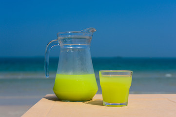 Guava juice on the table beach