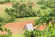 Aerial view with farming land of the Vinales Valley in Cuba