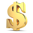 Golden dollar currency sign