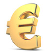 Golden euro currency sign