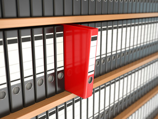 Office file binders on shelf. Archive.