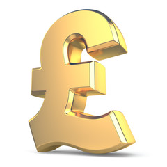 Golden pound currency sign