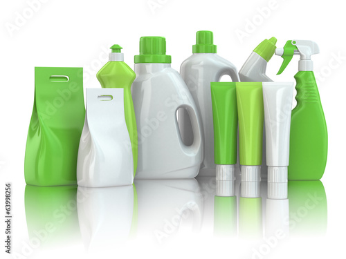Leinwanddruck Bild Cleaning supplies. Household chemical detergent bottles