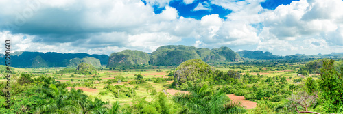 Panoramic image of the Vinales Valley in Cuba