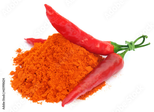 Red hot chilies with powder