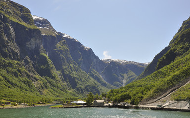 Gudvangen, Fähre, Naeroyfjord, Fjord, Sommer, Norwegen