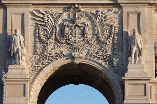 Coat of arms of Portugal on Rua Augusta Arch in Lisbon