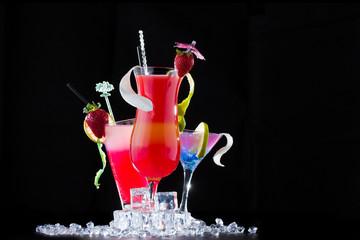 Fresh strawberry cocktail over black