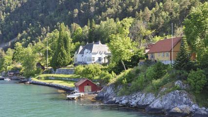 Laerdalsfjord, Ferienhäuser, Fjord, Sommer, Norwegen