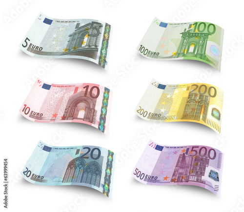 Collection of euro banknotes. Isolated over white