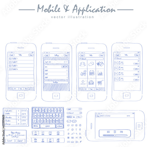 mobile application concept sketch drawing vector