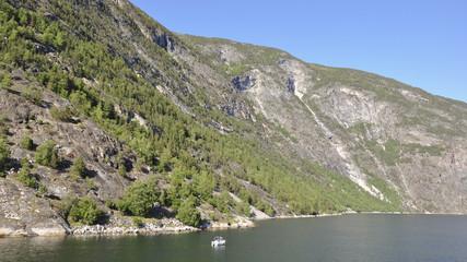 Laerdalsfjord, Laerdal, Fischer, Fischerboot, Sommer, Norwegen