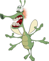 Green insect with the big teeth cartoon