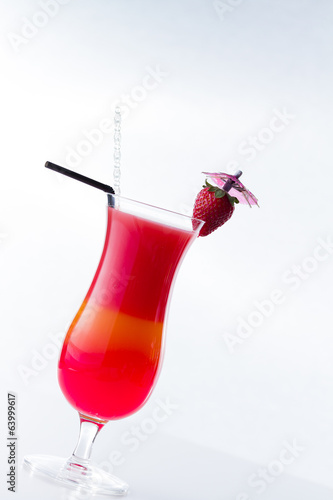 Fresh strawberry cocktail over white