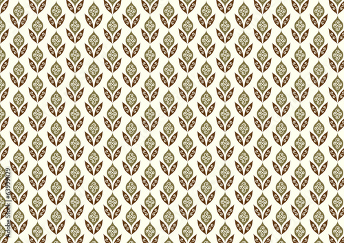 Retro Flower and Leaves Pattern in Classic Style