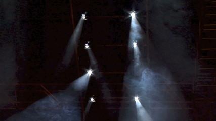 Spot lights shining through clouds of smoke