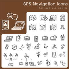 Set of icons for gps and navigation