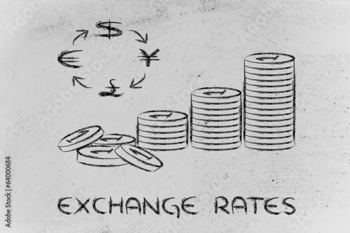 stack of coins and currency symbols, exchange rates