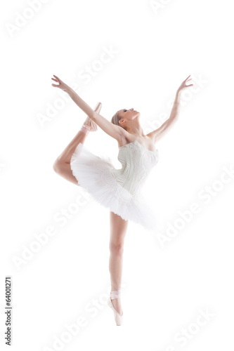 Image of blonde ballerina dancing gracefully