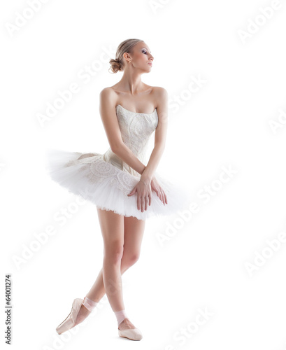 Emotional modern ballet dancer isolated on white