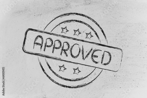 stamp-like design with the word Approved