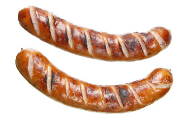 Fried sausages on white background
