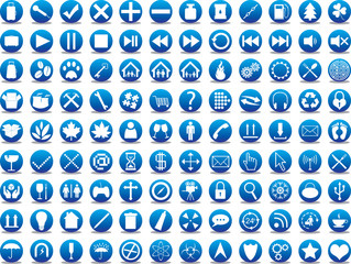 Blue icon collection illustrated on white