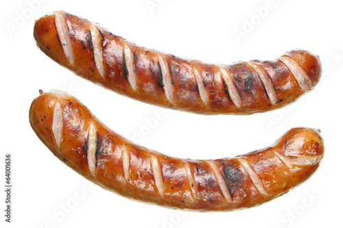 Fried sausages on white background - 64001636