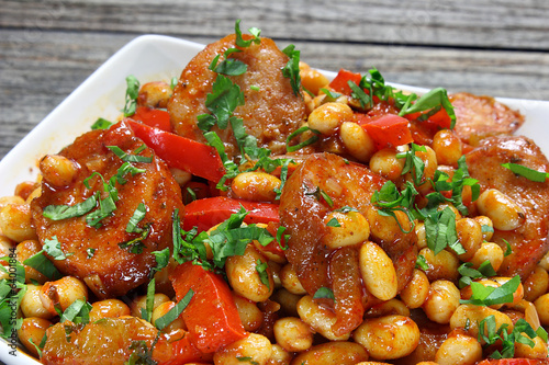 Soybeans with paprika and sausage