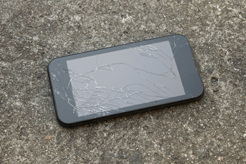 mobile smart phone with a broken screen