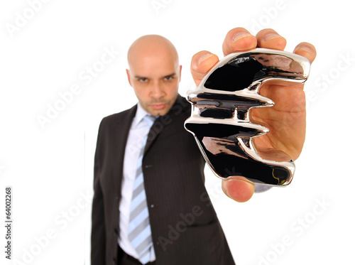 business man holding a silver euro sign financial concept