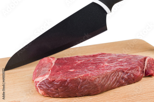 Preparation for cutting a piece of beef
