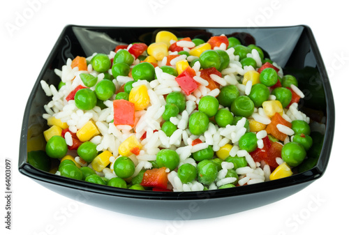 Vegetable mix in black salad bowl