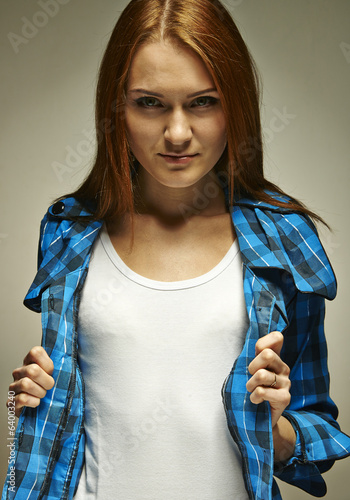 Girl in chequered shirt