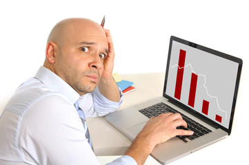 worried business man in stress watching finance collapse