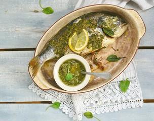 baked dorado fish  with pesto sauce