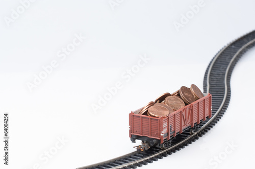 toy rail car with coins