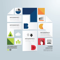 Modern Design Minimal style infographic paper template.