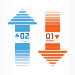 arrows line orange and blue color / can be used for infographics