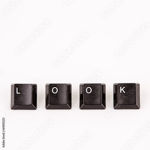 look word written with black computer buttons over white