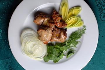 shashlik on plate