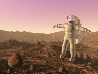 Astronaut on mars - 3D render