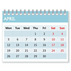 Calendar sheet for april