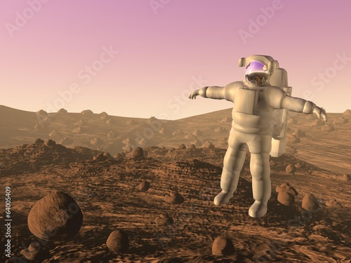 Astronaut on mars - 3D render