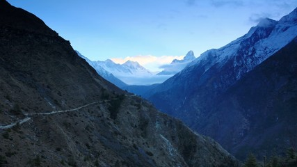Timelapse sunrise in the mountains Everest (8848м), Himalayas