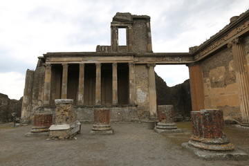 The ancient Roman city Pompei near Naples, buried under a layer