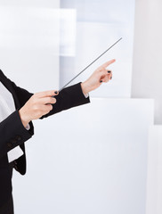 Hands of a music conductor with a baton
