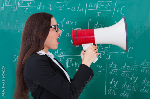 Angry Teacher Shouting Through Megaphone