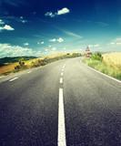 Fototapety asphalt road in Tuscany Italy