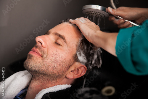 Washing hair in a salon